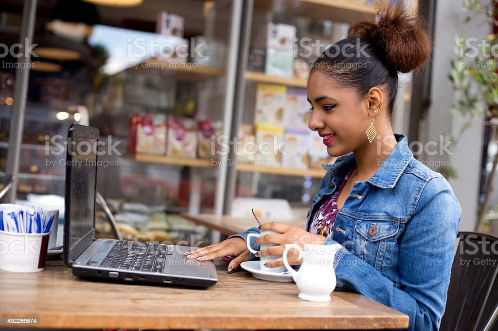 email and coffee royalty-free stock photo