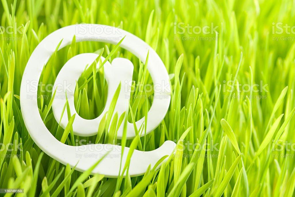 e-mail and fresh grass stock photo