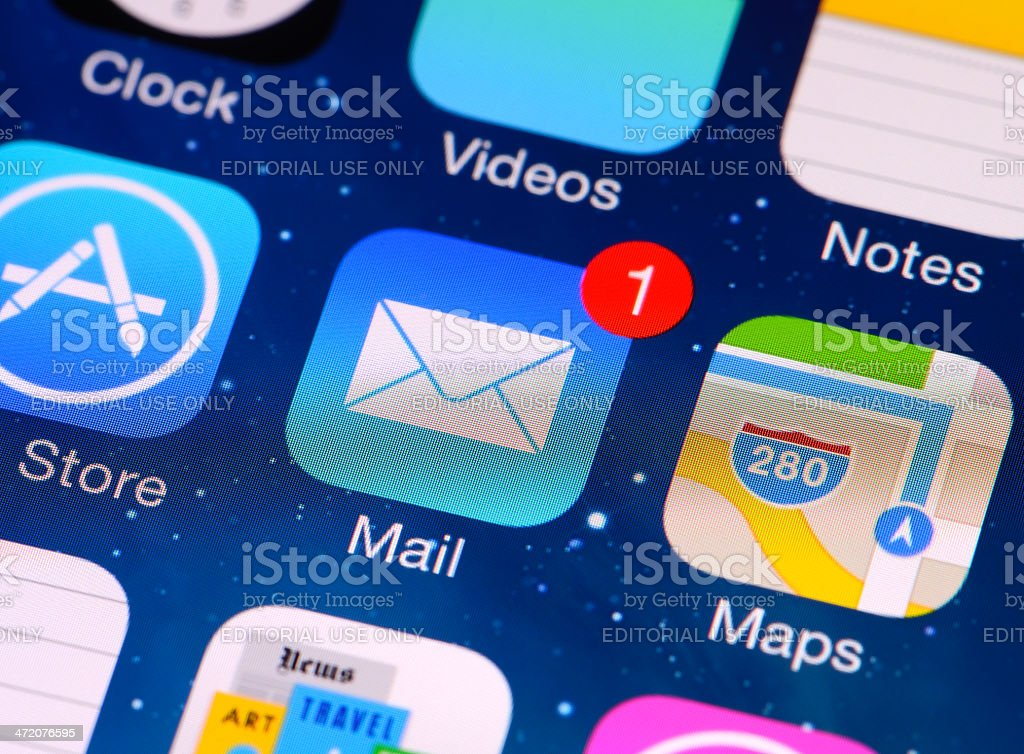 E-mail application on iPhone 5 screen stock photo