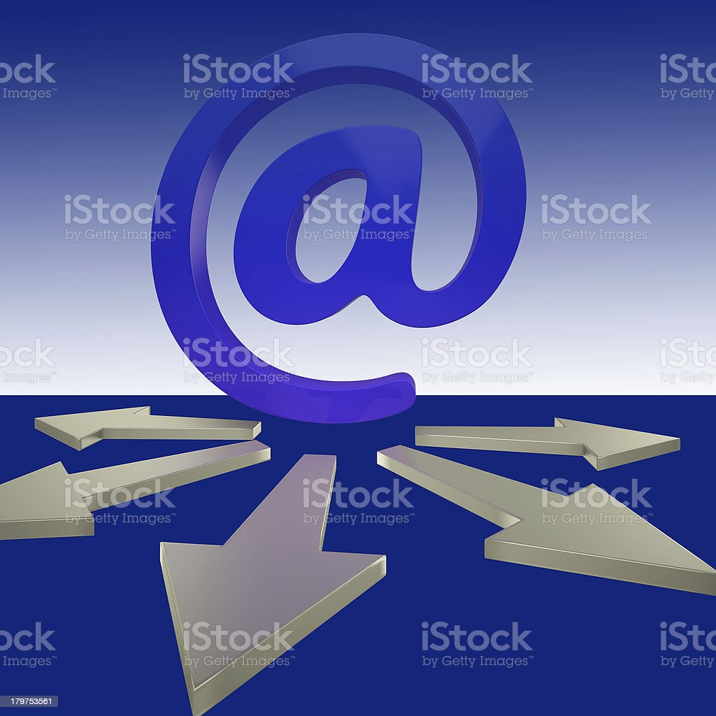 Email Arrows Shows Mailout Sent To Clients stock photo