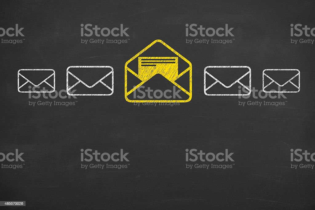 Email Concept Drawing Work on Blackboard stock photo