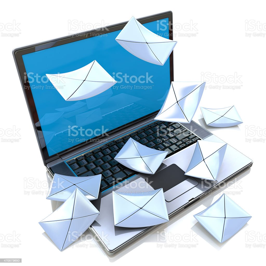 E-mail concept. Modern Laptop and envelope stock photo