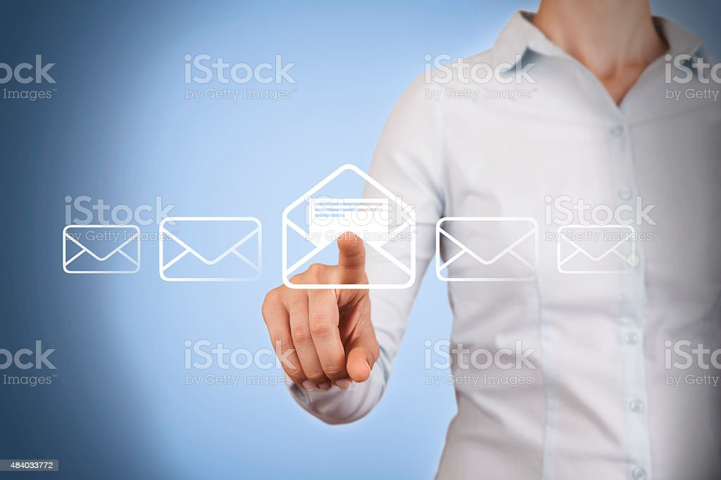 Email Conceptual Touching on Visual Screen stock photo