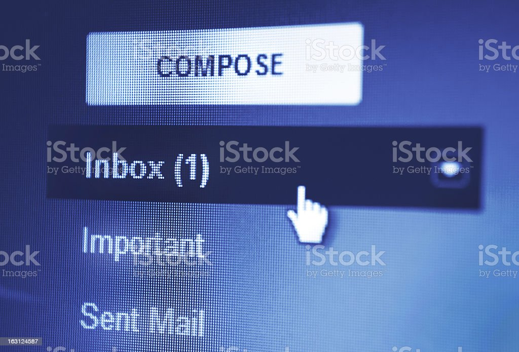 Email display on monitor screen stock photo