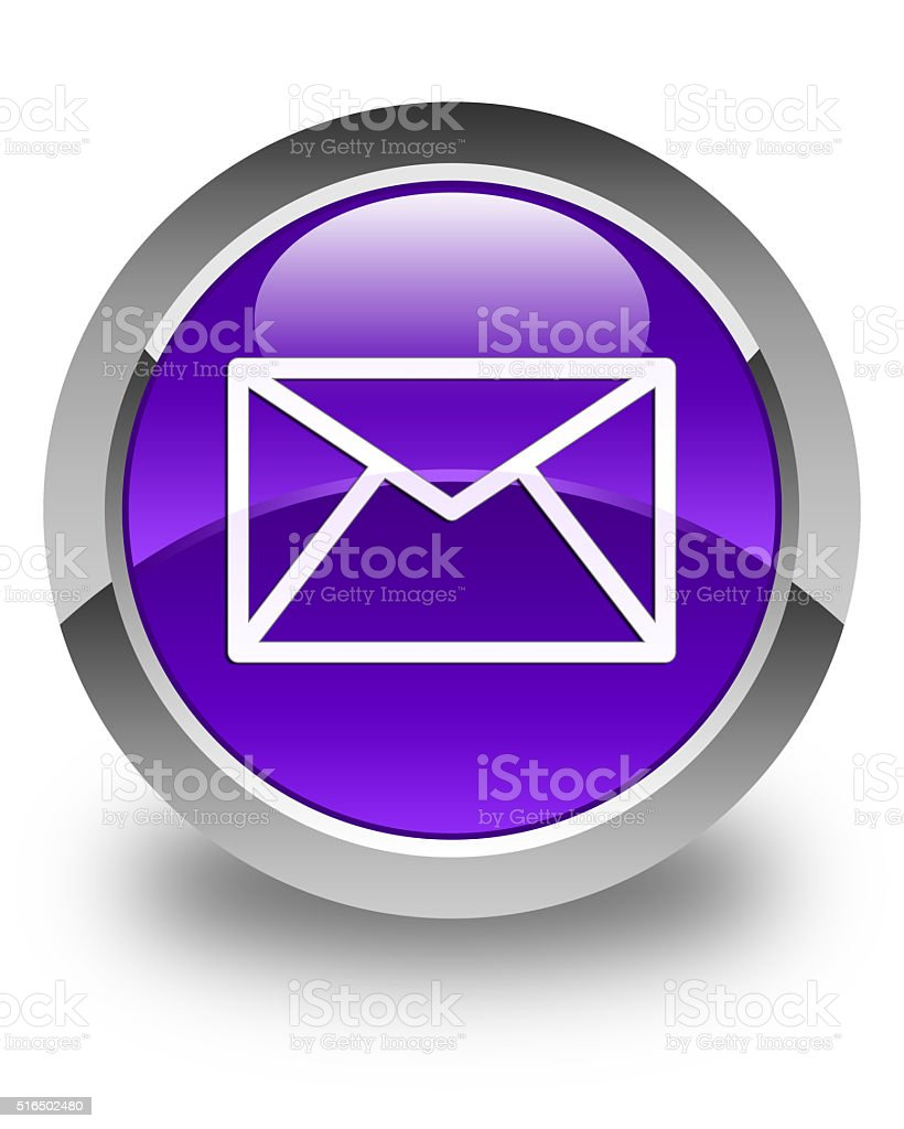 Email icon glossy purple round button stock photo