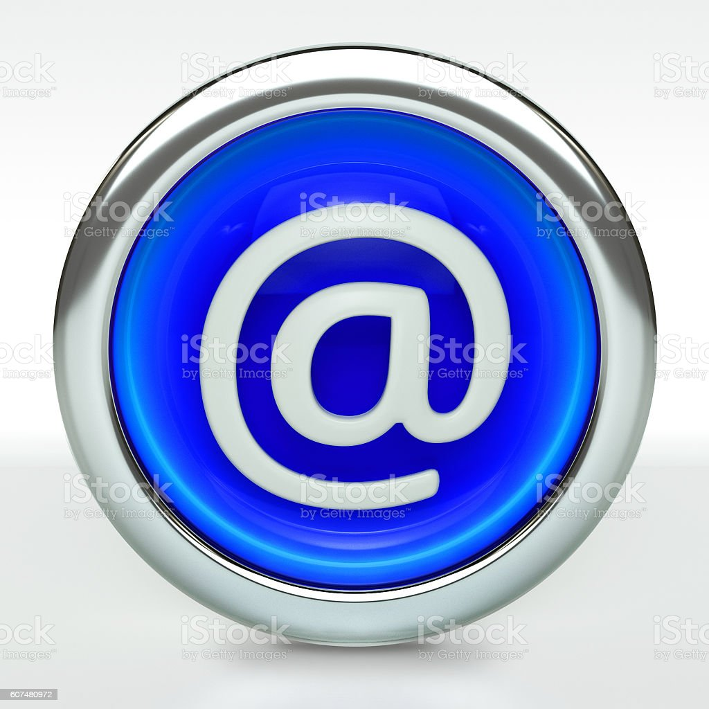 Email Icon on Blue Button with Metallic Rim stock photo