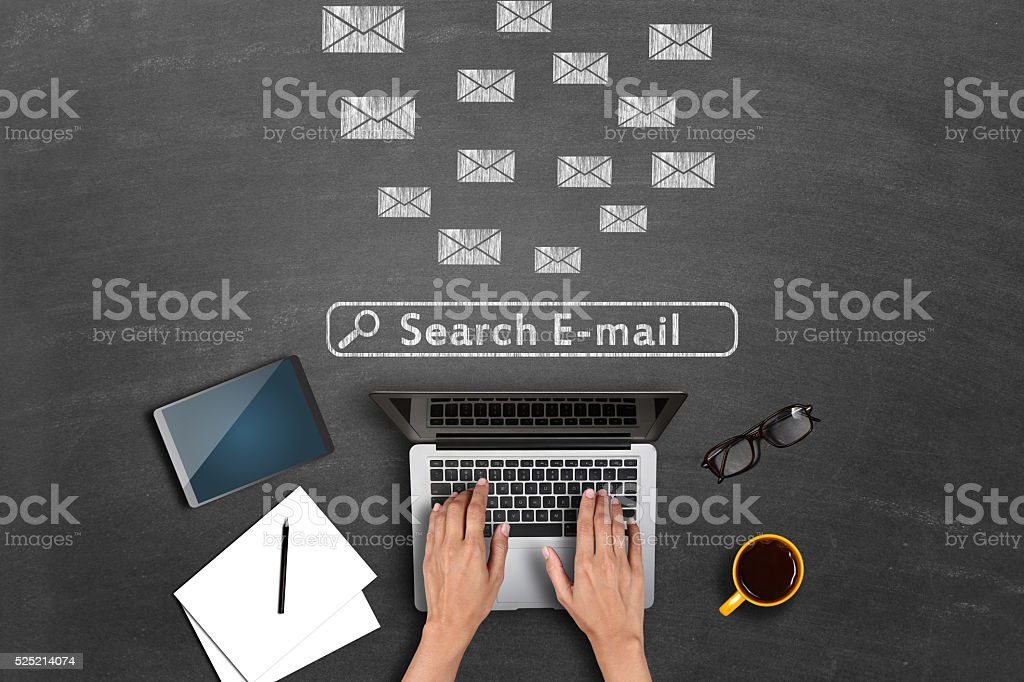 E-mail icons on blackboard stock photo