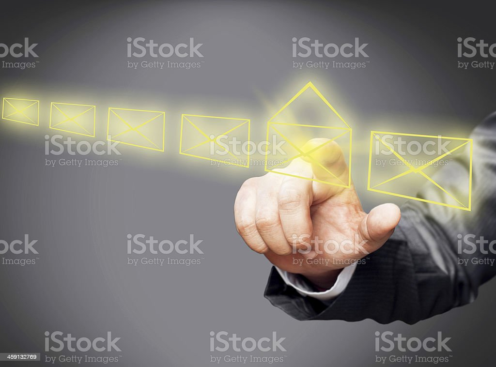 Email icons on touch screen stock photo