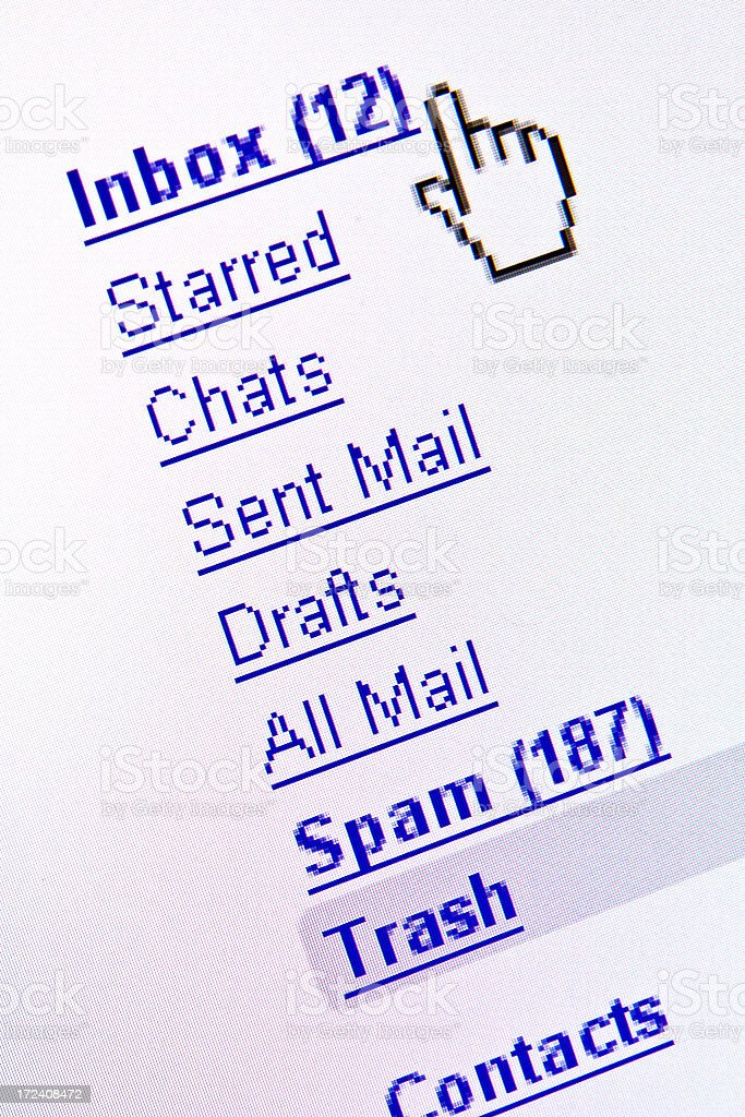 E-mail Inbox Screenshot Displayed on Computer Monitor stock photo