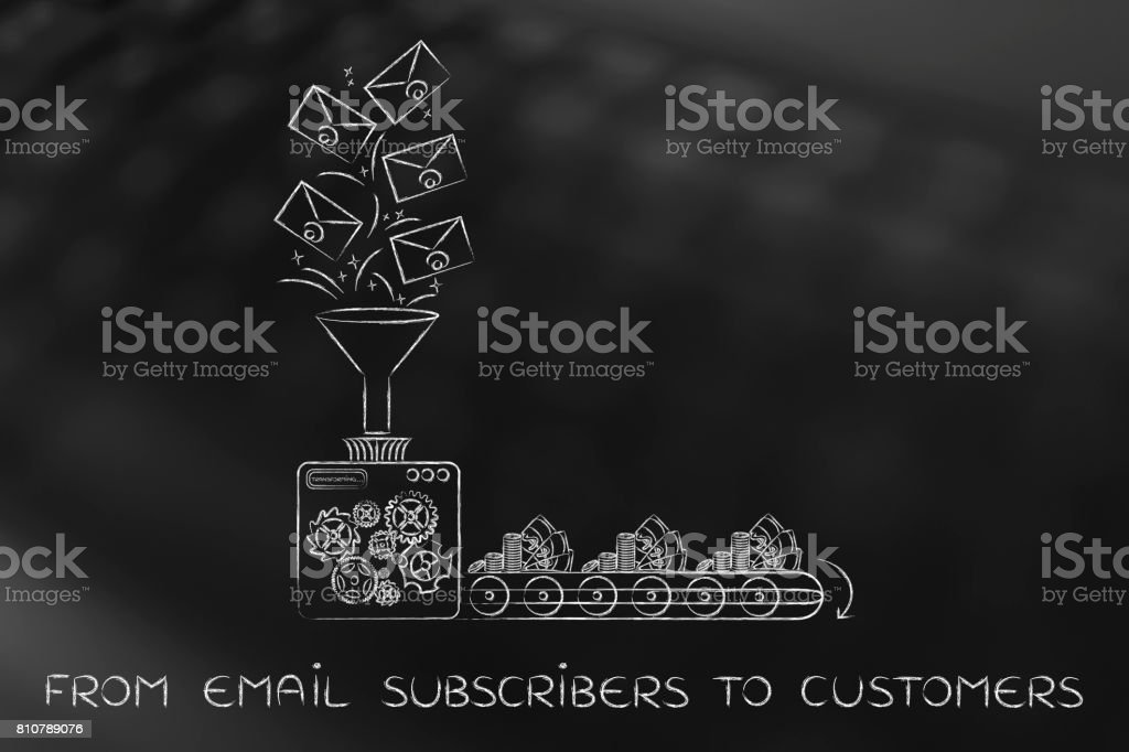 email list turning into cash, from subscribers to customers stock photo