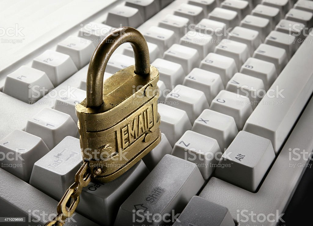 E-Mail Lock on Keyboard royalty-free stock photo