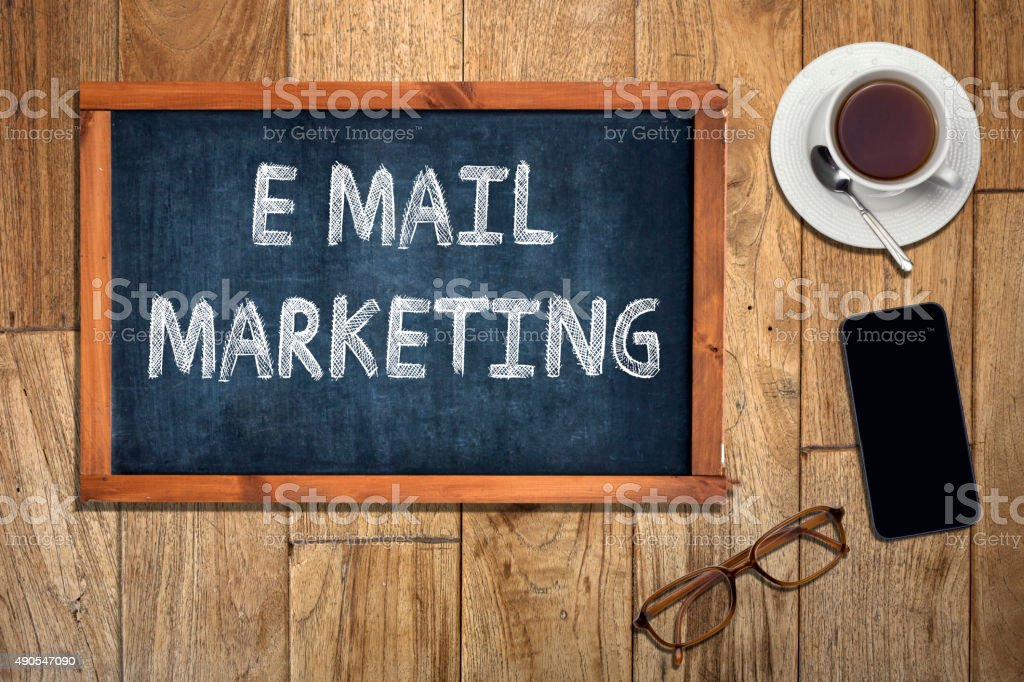 Email Marketing concept on blackboard stock photo