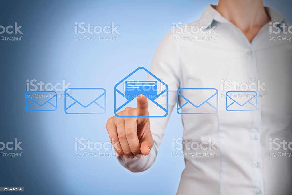 Email marketing, newsletter and bulk mail concepts stock photo