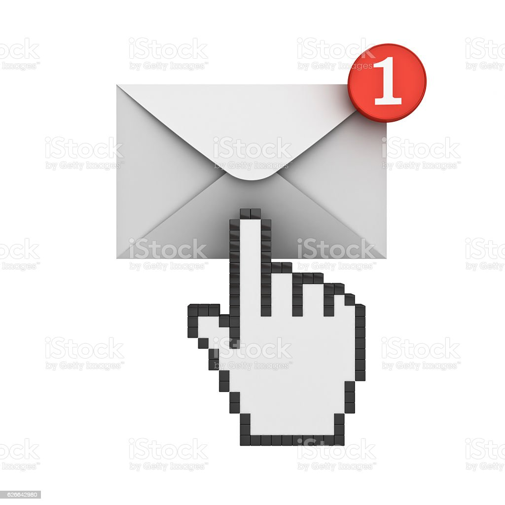 Email notification and hand cursor stock photo