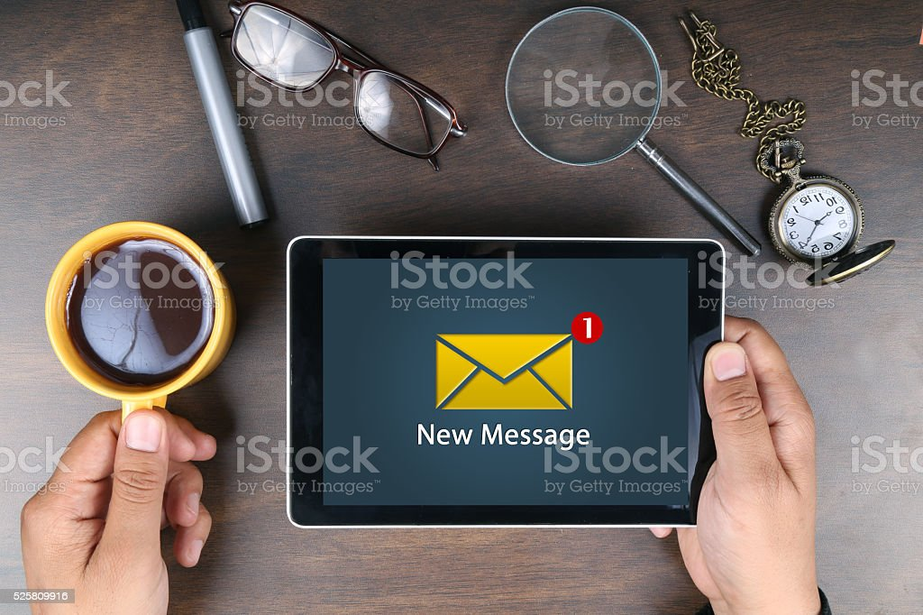 E-mail on digital tablet stock photo