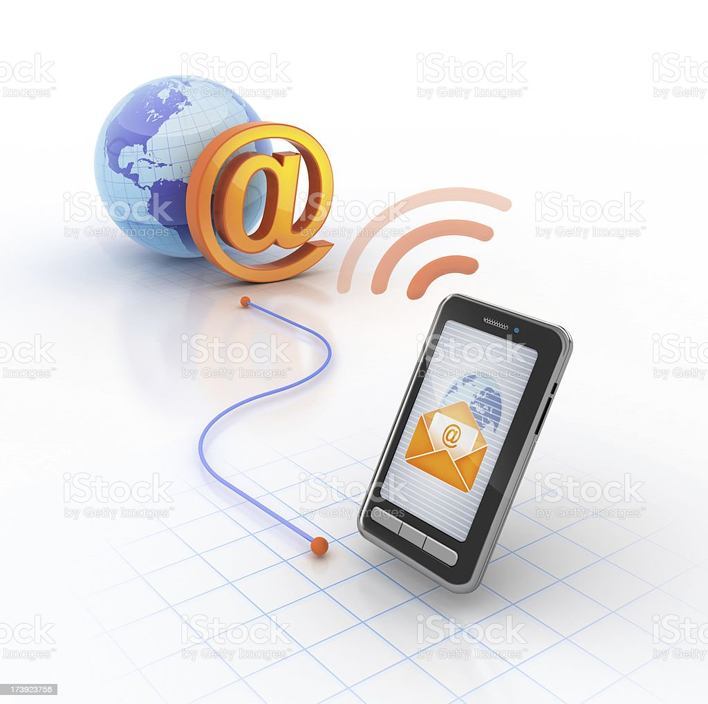 e-mail on mobile stock photo