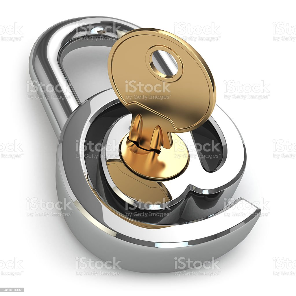 E-mail protection. At as lock and key. stock photo