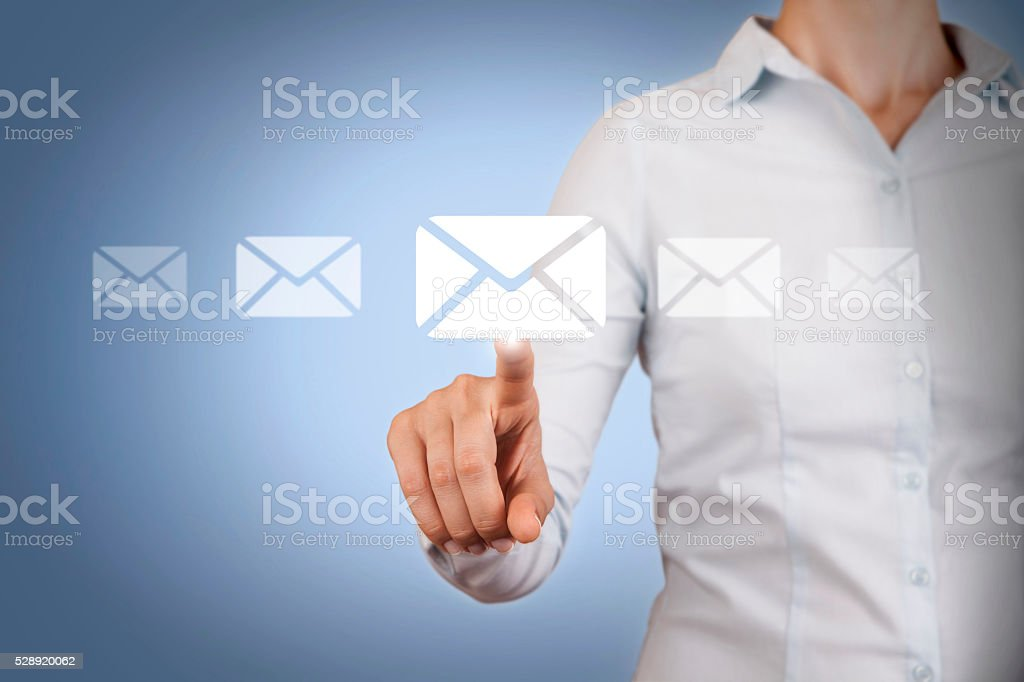 Email Sending on Touch Screen stock photo
