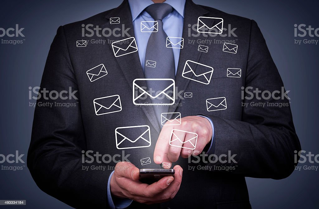 Email Sending With Smartphone stock photo