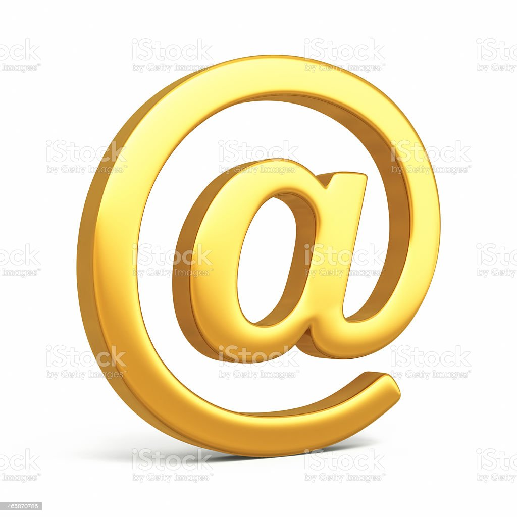 E-mail Sign Gold stock photo