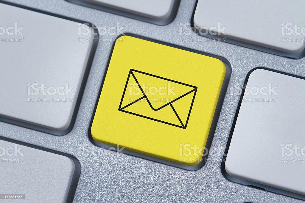 E-mail symbol at the computer key royalty-free stock photo