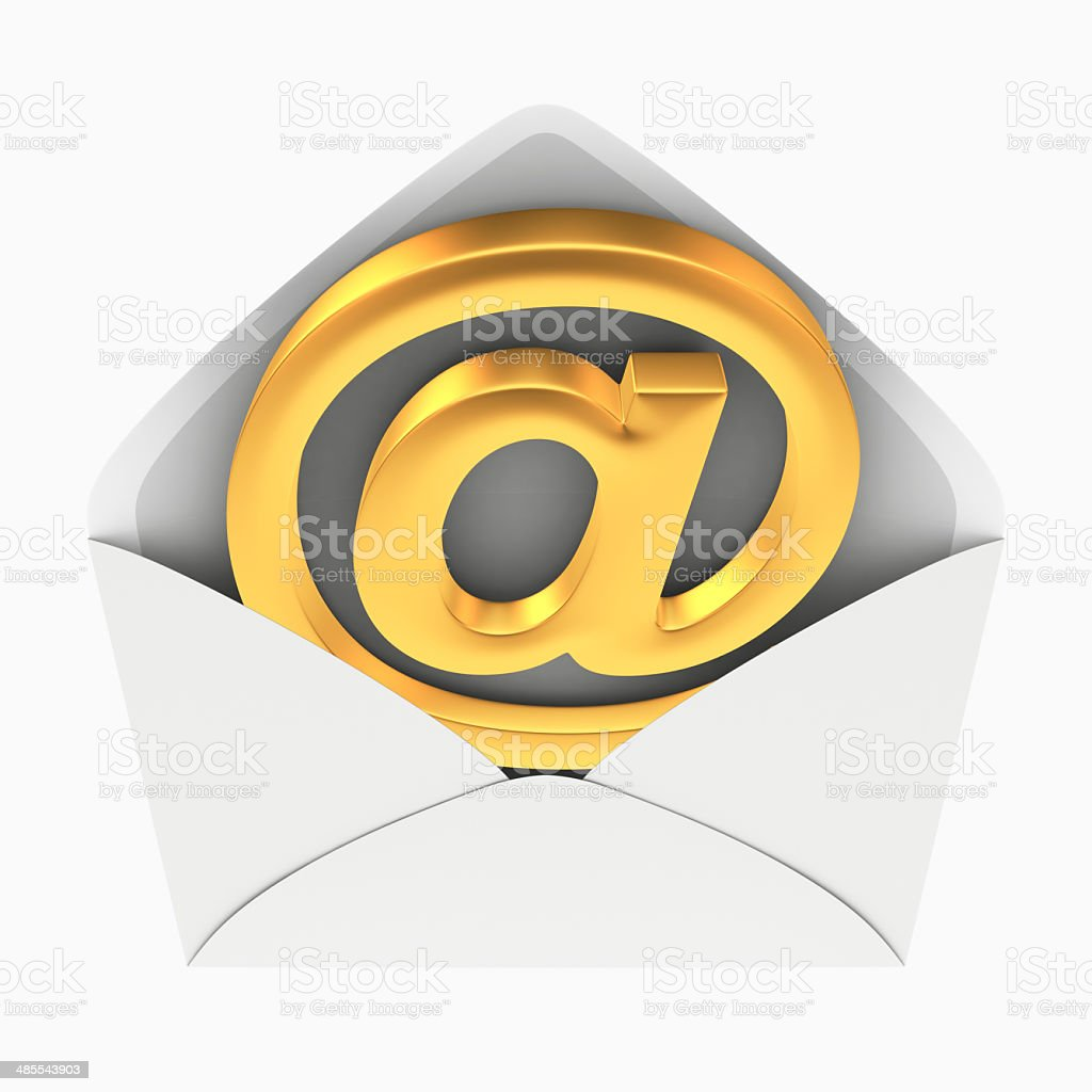 Email symbol in envelope stock photo