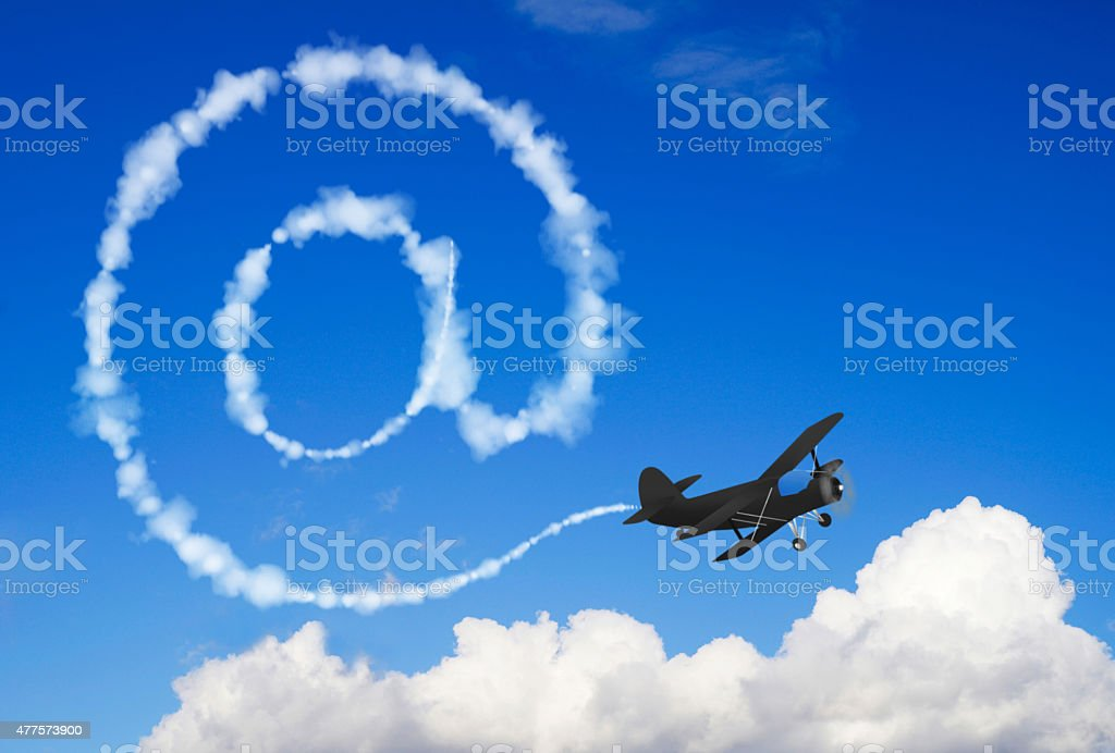 E-mail symbol in the sky stock photo