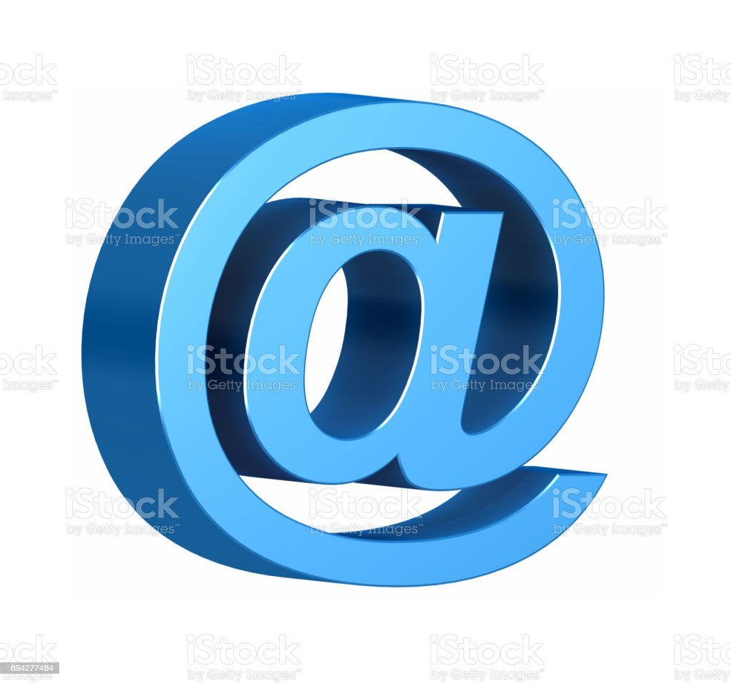 E-mail symbol isolated on white - 3d render stock photo