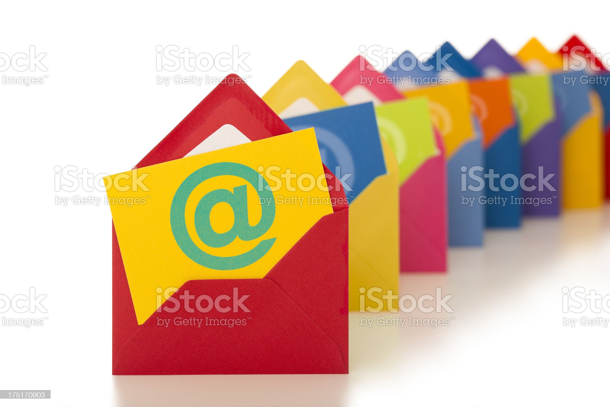 email symbol on row of colourful envelopes royalty-free stock photo