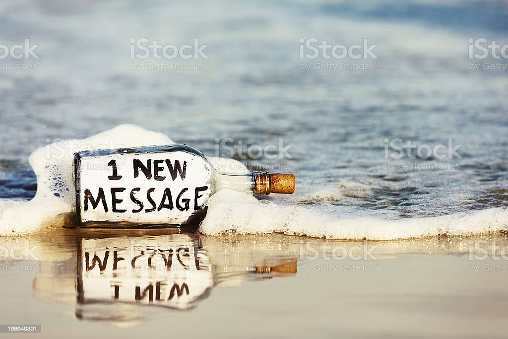 E-mail type notification from castaway reads 1 new massage stock photo