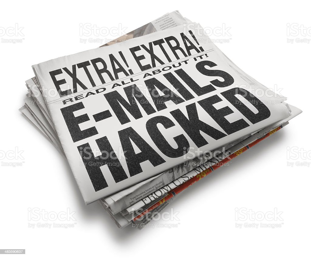 Emails Hacked Newspaper Headline On White Background royalty-free stock photo