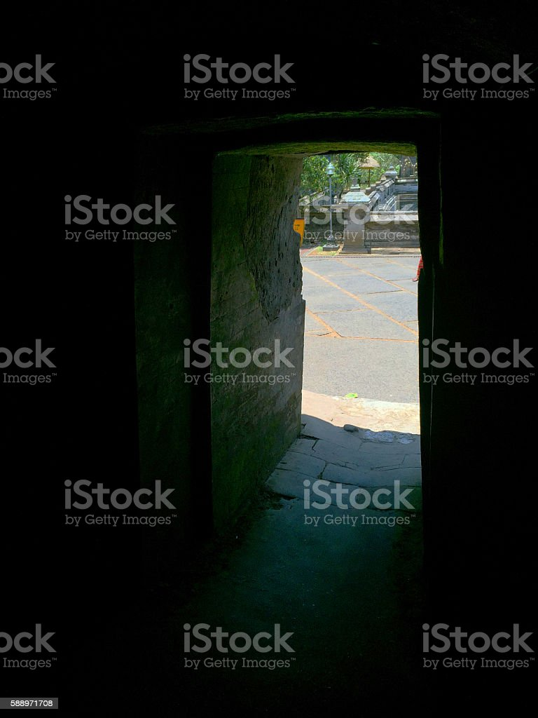 Emanating from the sacred cave of Bali stock photo