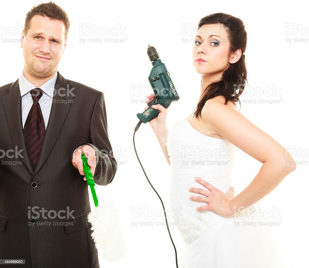 Emancipation in marriage. stock photo