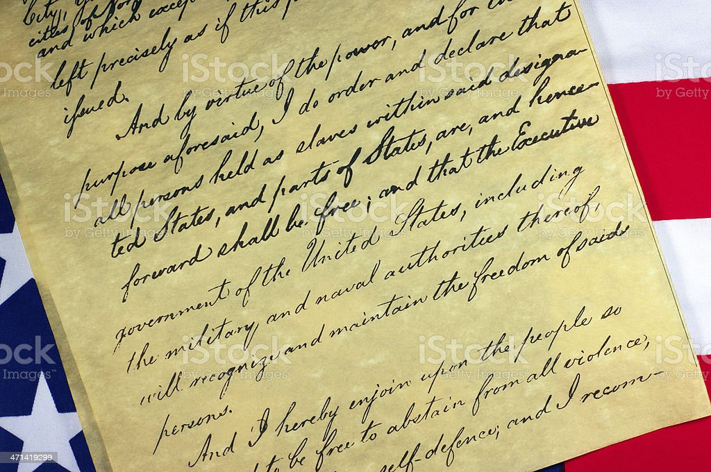 Emancipation Proclamation Document stock photo