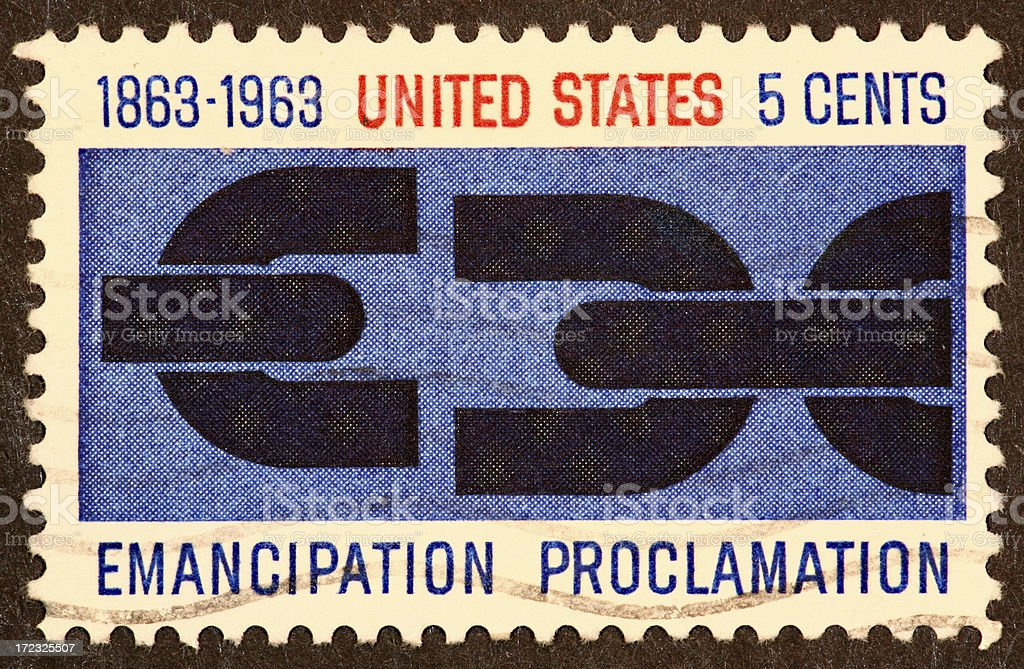 Emancipation Proclamation stamp stock photo