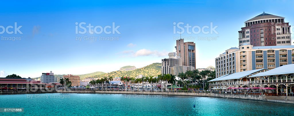 embankment at sunset, Port-Louis- capital of Mauritius , panorama stock photo