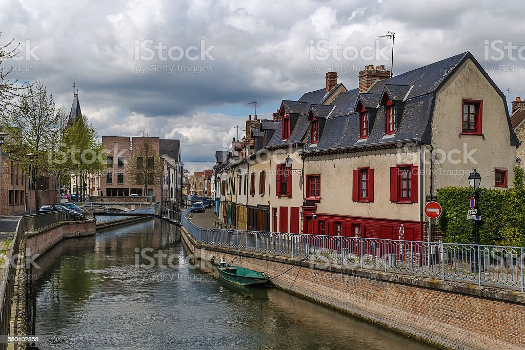 embankment in Amiens, France stock photo