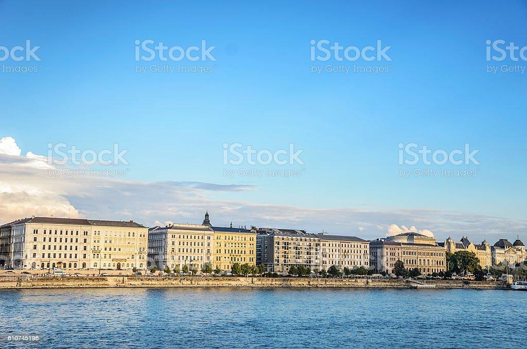 Embankment in Budapest. stock photo