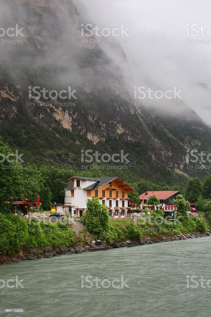 Embankment in Haiming. Austria stock photo