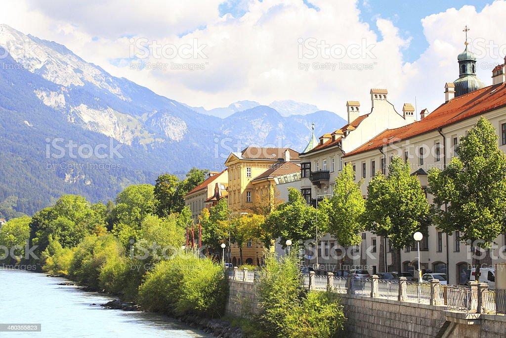 Embankment in Innsbruck, Austria stock photo