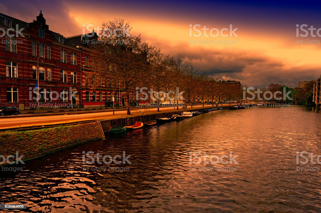 Embankment in the historical center of Amsterdam stock photo