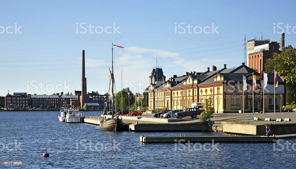 Embankment in Vaasa. Finland stock photo
