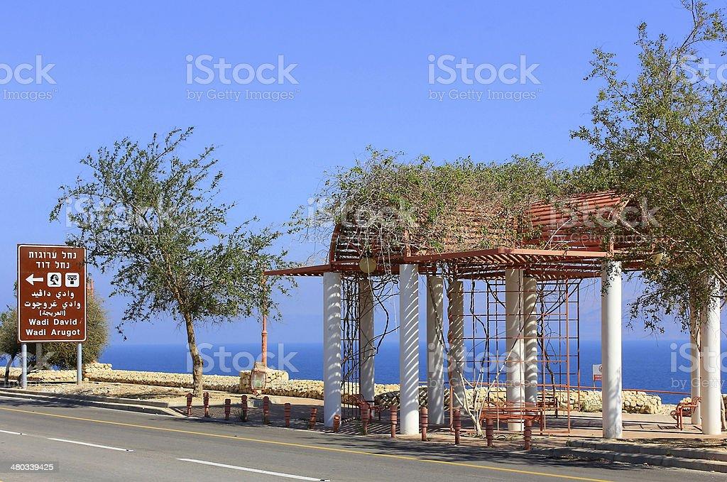 embankment near the Dead Sea, beach Ein Gedi, Israel stock photo