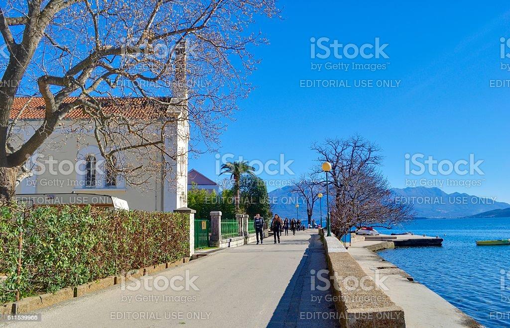 Embankment of Djenovici town. stock photo