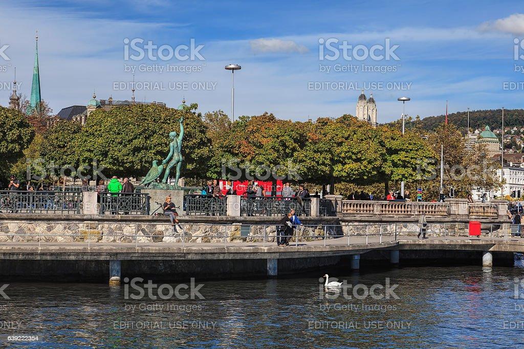 Embankment of Lake Zurich stock photo