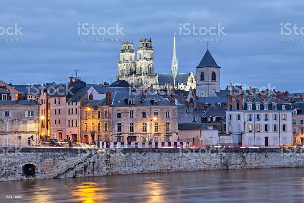 Embankment of Loire and Orleans Cathedral stock photo
