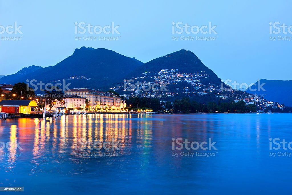 Embankment of Lugano, Switzerland, Canton Ticino stock photo