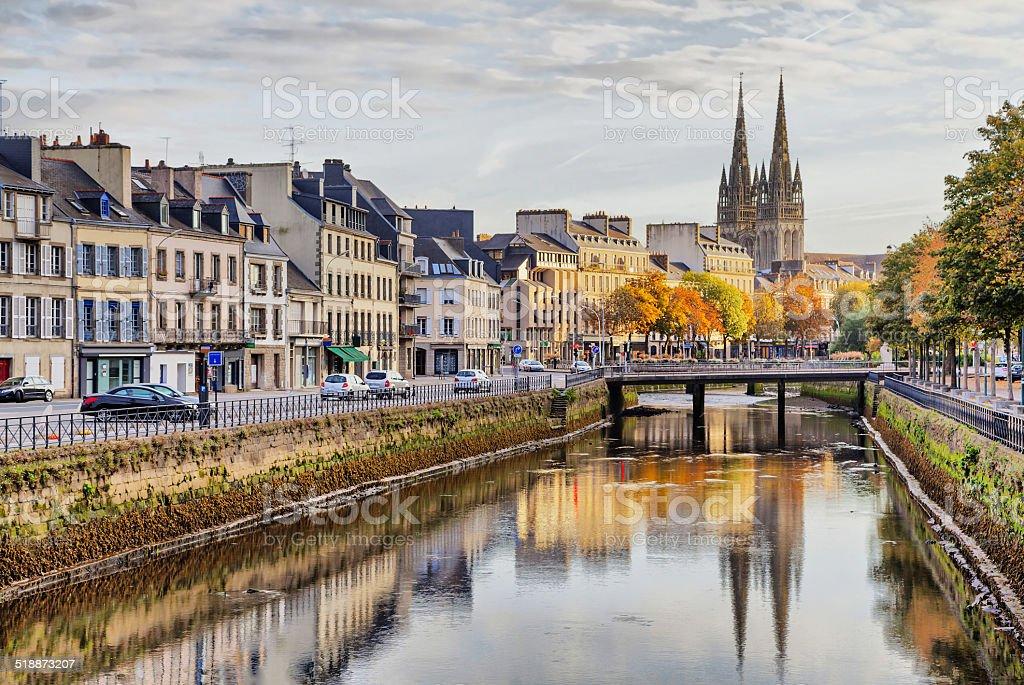 Embankment of river Odet in Quimper, France stock photo