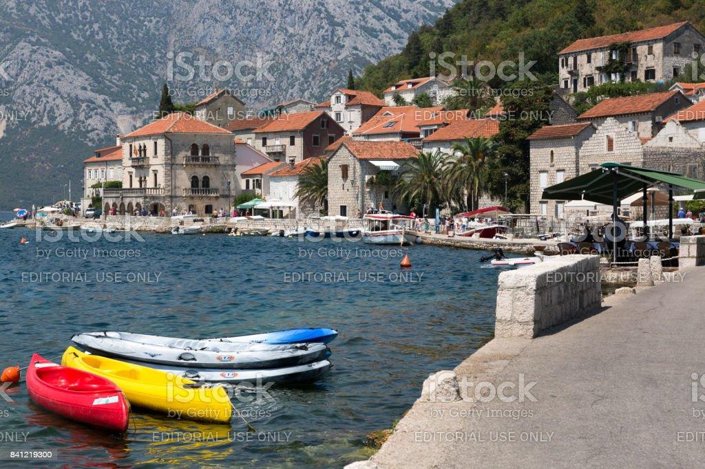 Embankment of the city of Perast, Montenegro. stock photo