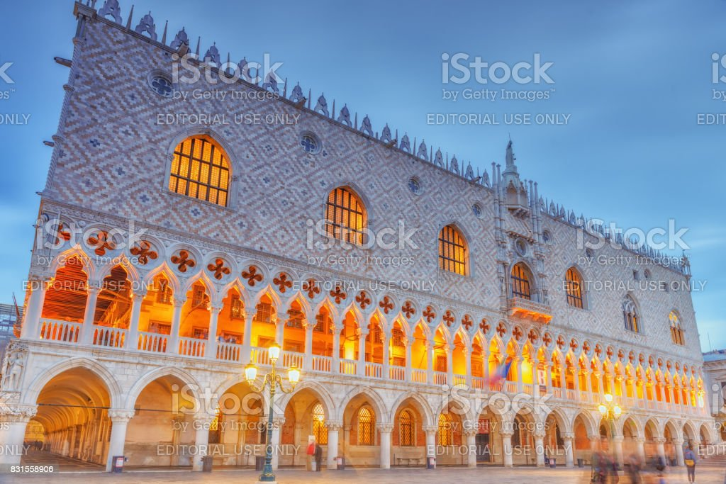 Venice,  Italy - May 11, 2017: Embankment of the Grand Canal and the Doge's Palace (Palazzo Ducale) in night time, Venice. stock photo